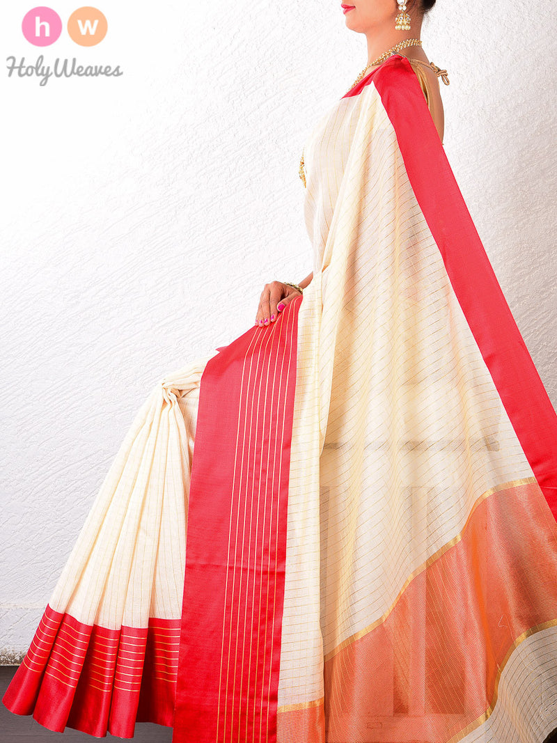 Cream & Red Cotton Silk Chequered Brocade Woven Saree - HolyWeaves