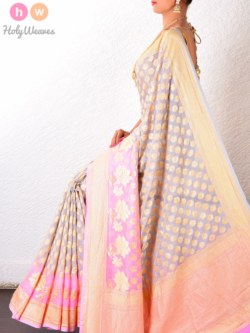 Gray-Pink Georgette Khaddi Cutwork Brocade Handwoven Saree - HolyWeaves