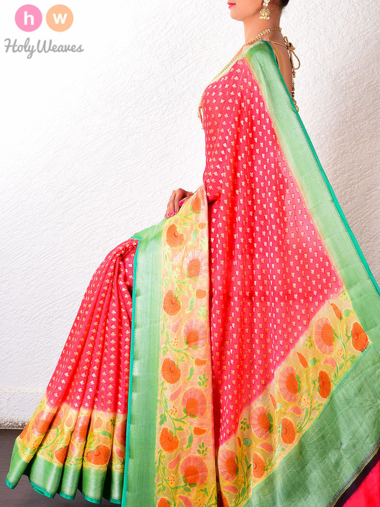 Red Georgette Hand-brushed Khaddi Cutwork Brocade Handwoven Saree - HolyWeaves