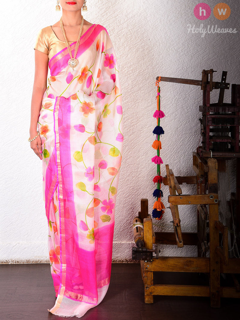 White Kota Silk  Hand-painted Saree - HolyWeaves