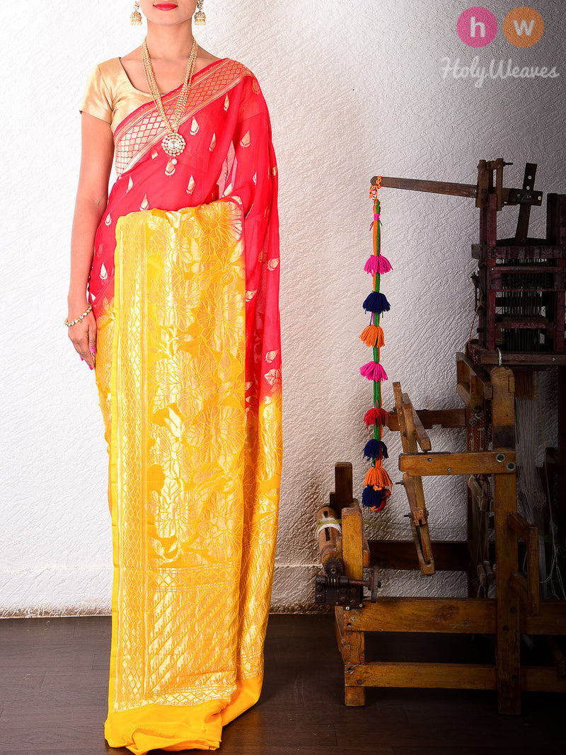 Red & Yellow Shaded Georgette Khaddi Cutwork Brocade Handwoven Saree - HolyWeaves