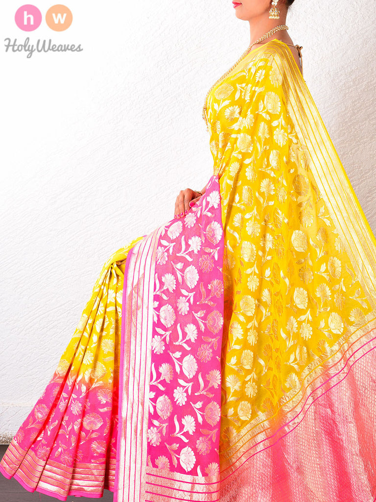 Yellow Georgette Khaddi Cutwork Brocade Handwoven Saree