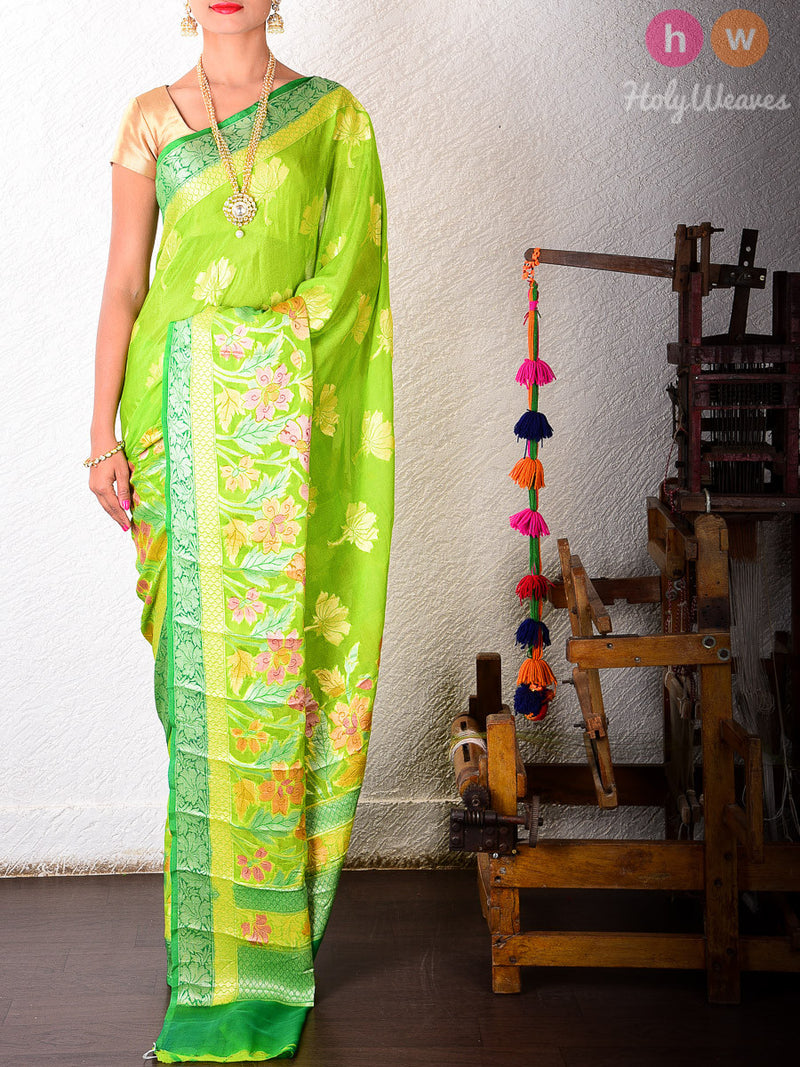 Green Georgette Hand-brushed Gulmohar Khaddi Cutwork Brocade Handwoven Saree - HolyWeaves