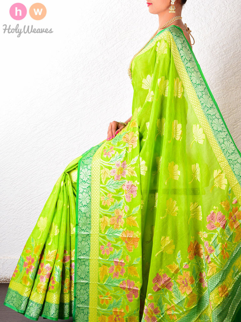 Green Georgette Gulmohar Khaddi Cutwork Brocade Handwoven Saree - HolyWeaves