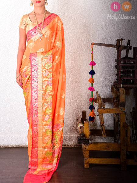 Orange Georgette Gulmohar Khaddi Cutwork Brocade Handwoven Saree