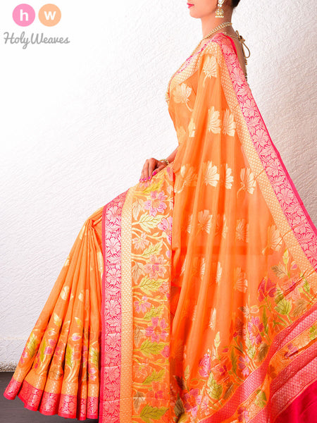 Orange Georgette Gulmohar Khaddi Cutwork Brocade Handwoven Saree - HolyWeaves