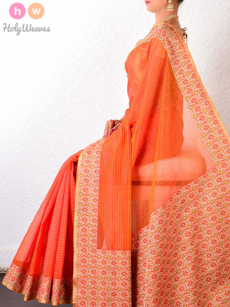 Orange Kota Check Cotton Silk Brocade Woven Saree - HolyWeaves