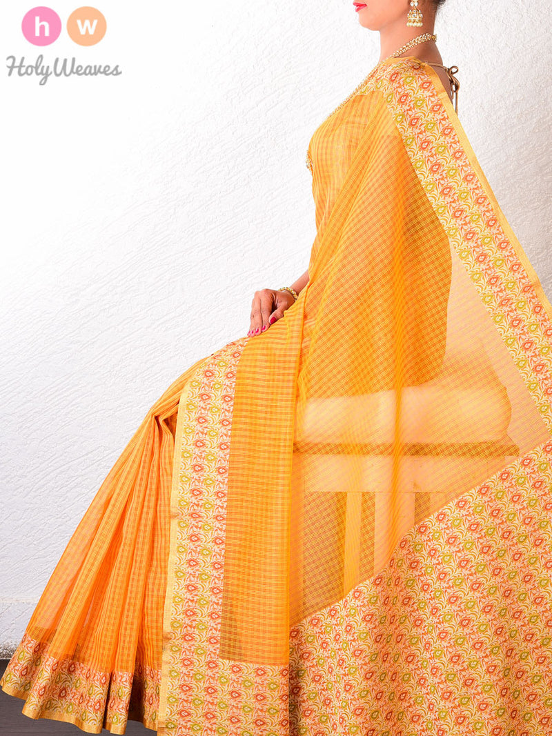 Yellow Kota Check Cotton Silk Brocade Woven Saree - HolyWeaves