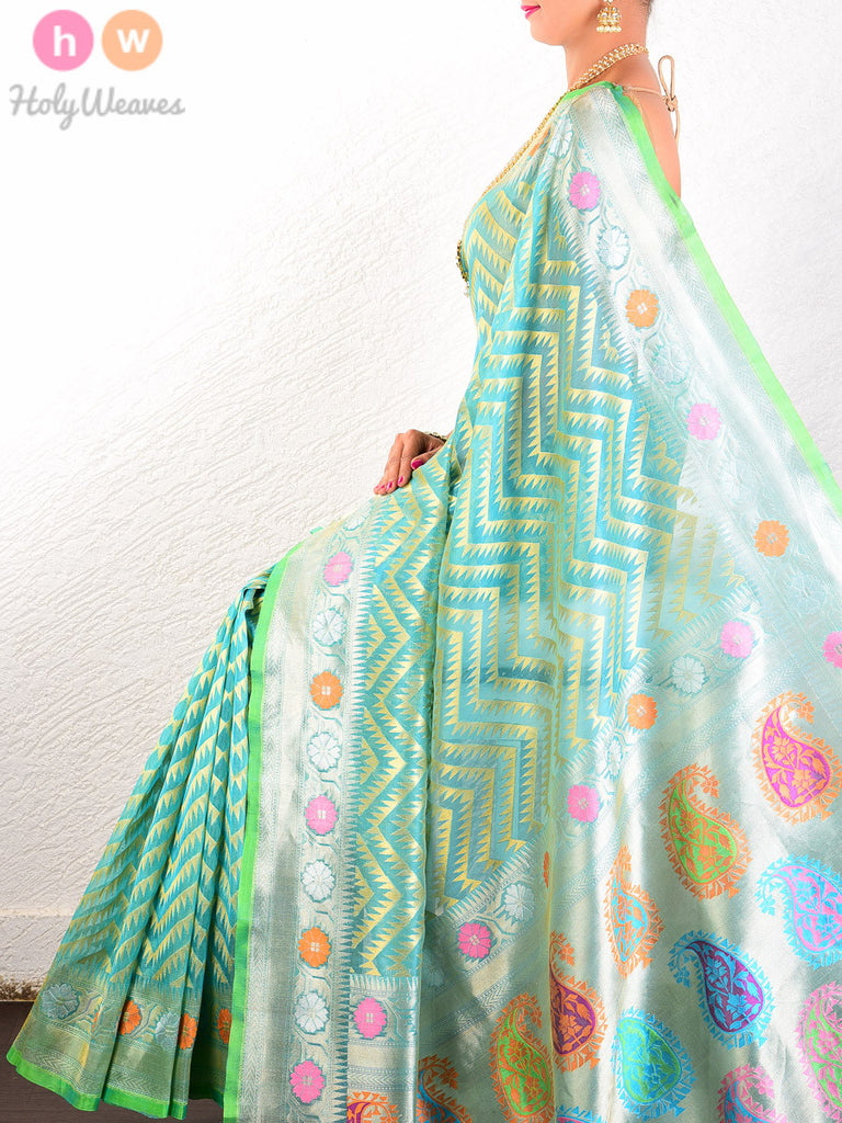 Green Kora Silk Cutwork Chevron Brocade Handwoven Saree