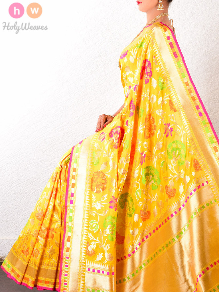 Yellow Katan Silk Banarasi Cutwork Brocade Handwoven Saree