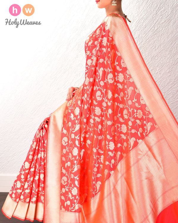 Orange Banarasi Shikargah (शिकारगाह) Cutwork Brocade Handwoven Katan (कतान) Silk Saree- HolyWeaves