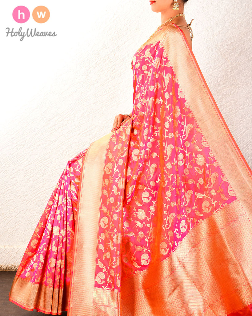 Pink-Red Banarasi Shikargah Cutwork Brocade Handwoven Katan Silk Saree