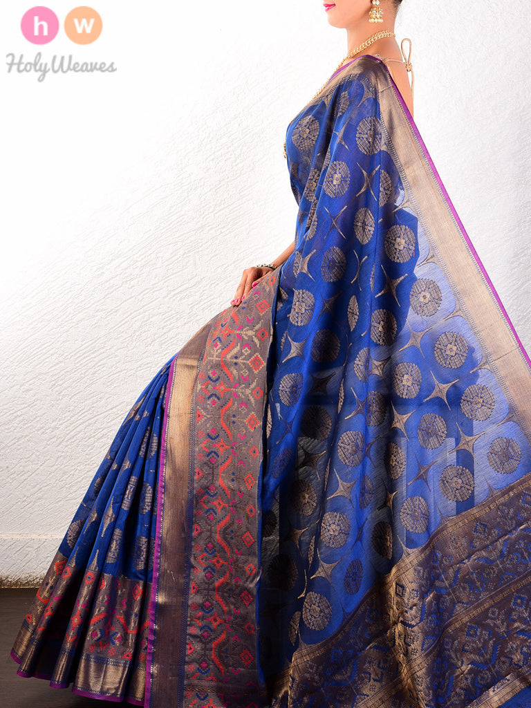 Blue Cotton Silk Cutwork Brocade Woven Saree with Brocade blouse piece - HolyWeaves