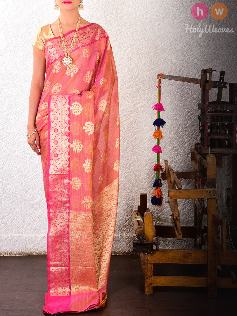 Purple-Pink Banyan Tree Cotton Silk Cutwork Brocade Woven Saree - HolyWeaves