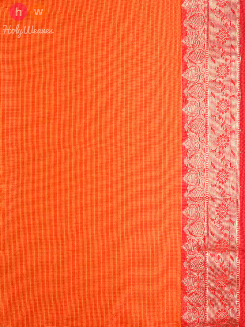 Orange Banyan Tree Cotton Silk Cutwork Brocade Woven Saree - HolyWeaves