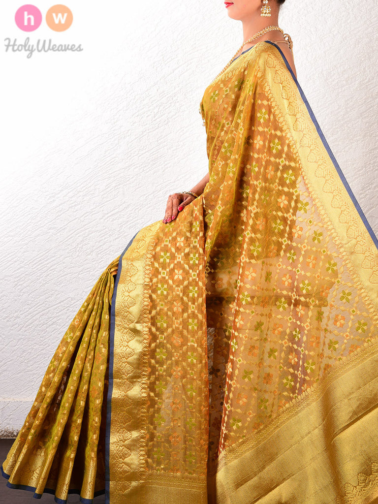 Olive Cotton Silk Cutwork Brocade Woven Saree - HolyWeaves