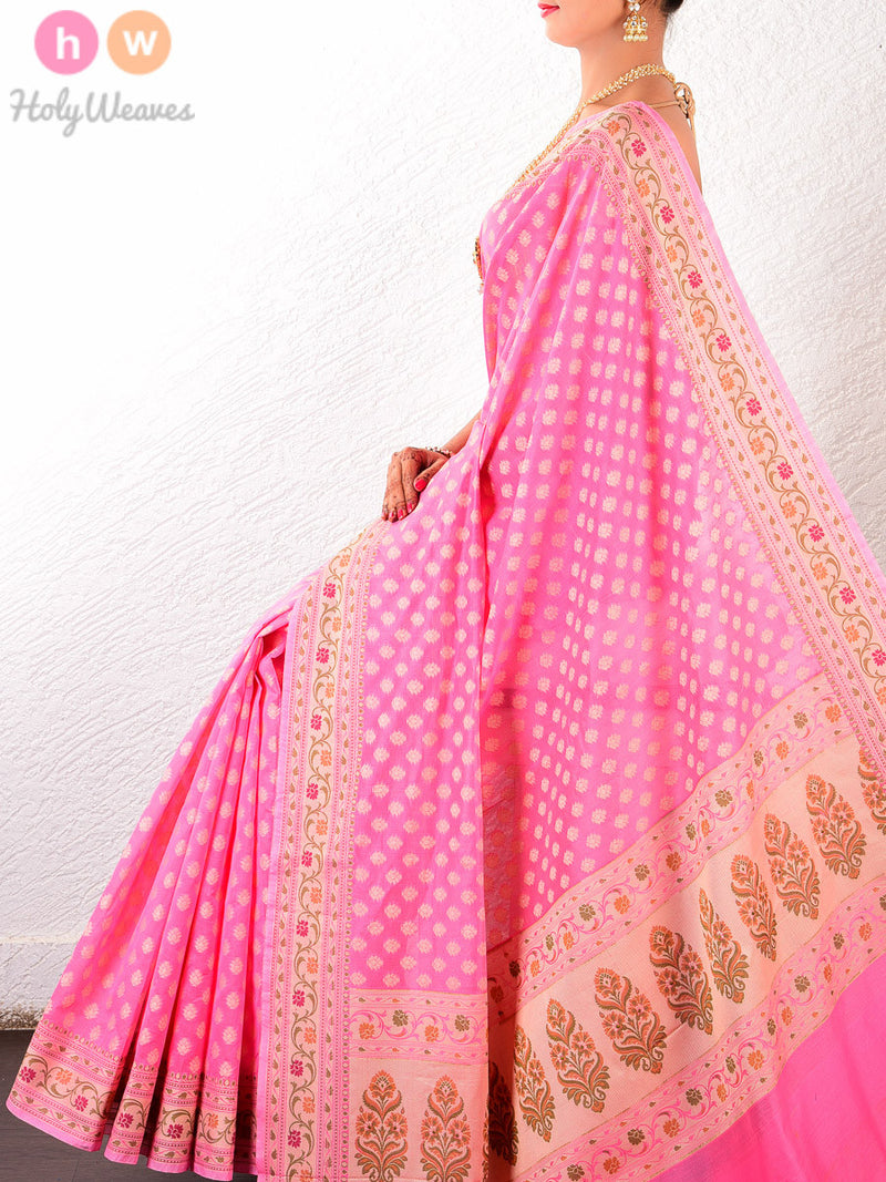 Pink Chhoti Buti Soft Cotton Silk Cutwork Brocade Woven Saree - HolyWeaves