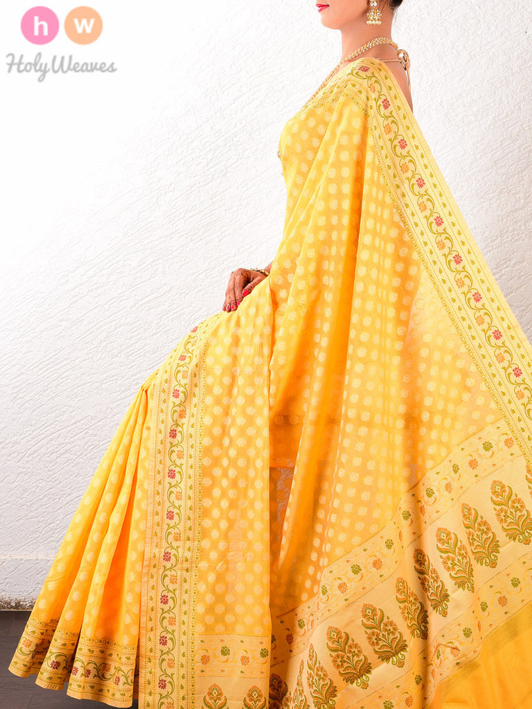 Yellow Chhoti Buti Cotton Silk Cutwork Brocade Woven Saree - HolyWeaves