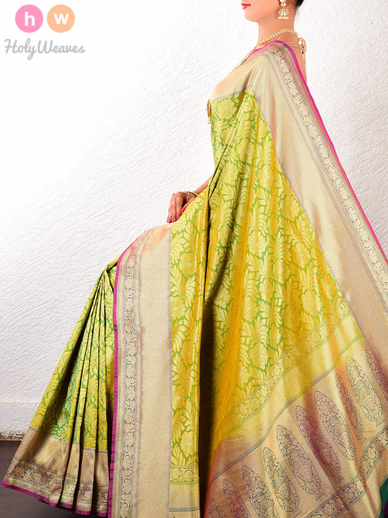 Green Art Silk Brocade Woven Saree - HolyWeaves