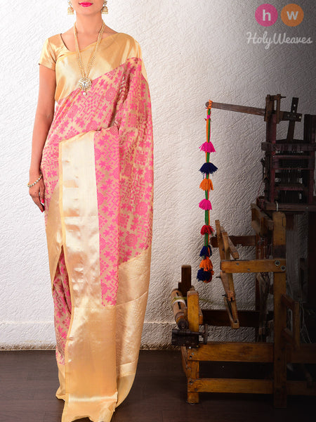Beige-Purple Cotton Silk Cutwork Brocade Woven Saree
