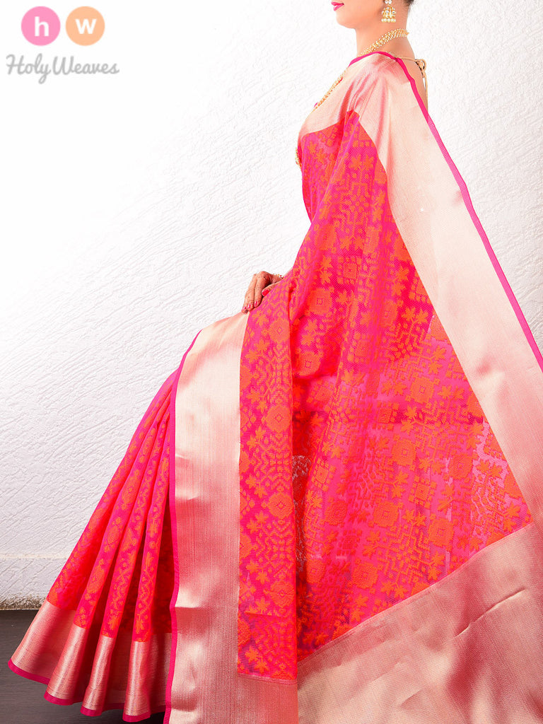 Pink-Orange Cotton Silk Cutwork Brocade Woven Saree