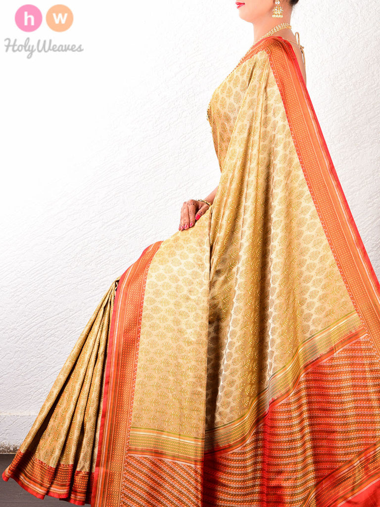Beige-Red Katan Silk Banarasi Leaf Jamawar Handwoven Saree - HolyWeaves