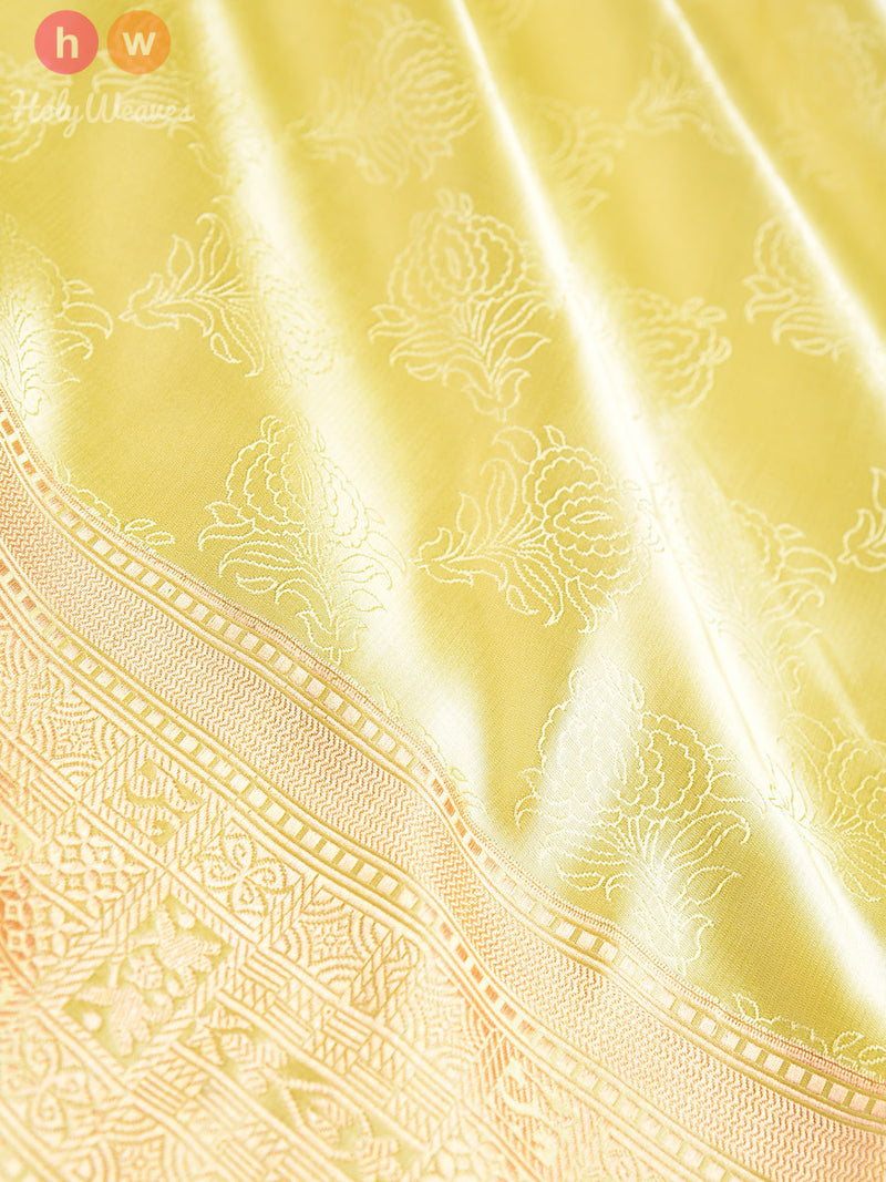 Lemon Yellow Katan Silk Banarasi Tanchoi Brocade Handwoven Saree - HolyWeaves