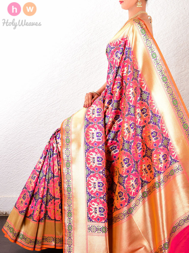 Peach Art Silk King's Elephant Cutwork Brocade Handwoven Saree - HolyWeaves
