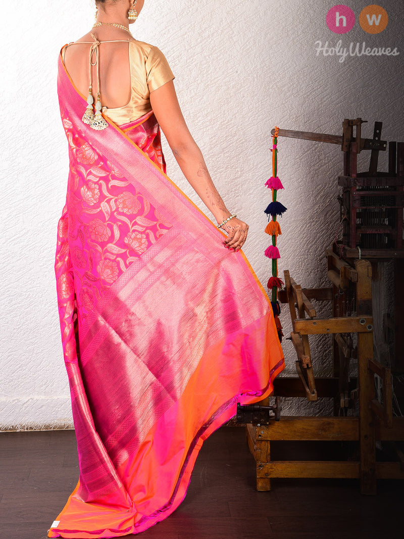 Pink Katan Silk Banarasi Cutwork Brocade Handwoven Saree - HolyWeaves