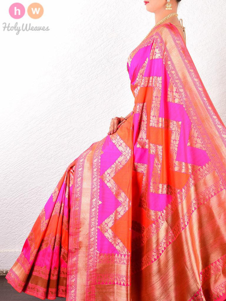 Pink Katan Silk Banarasi Cutwork Chevron Brocade Handwoven Saree - HolyWeaves