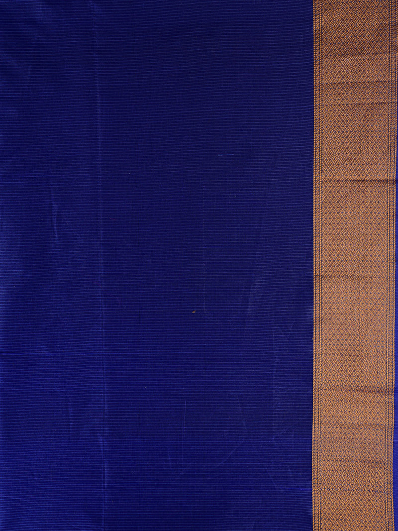 Blue Chequered Cotton Silk Multi-color Floral Cutwork Brocade Woven Saree - HolyWeaves