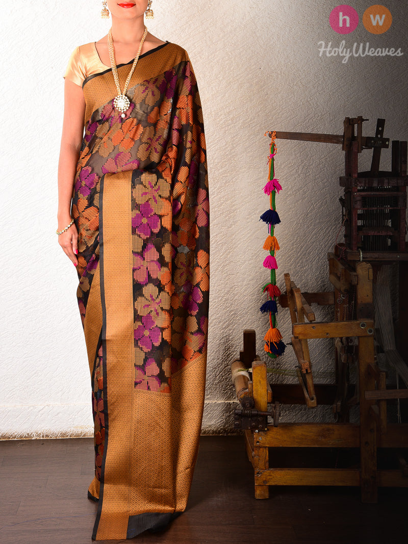 Black Chequered Cotton Silk Multi-color Floral Cutwork Brocade Woven Saree - HolyWeaves