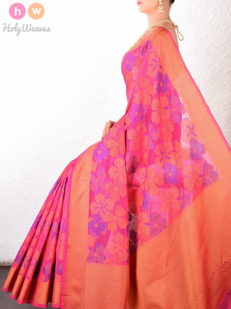 Pink Cotton Silk Floral Cutwork Brocade Woven Saree