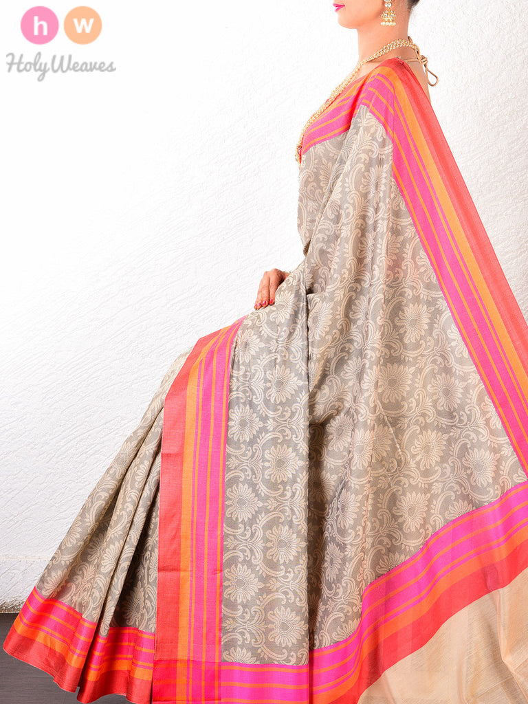 Beige Cotton Silk Tanchoi Woven Saree with Colorful Striped Borders - HolyWeaves