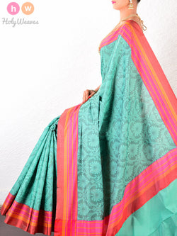 Green Cotton Silk Tanchoi Woven Saree Colorful Striped Borders - HolyWeaves