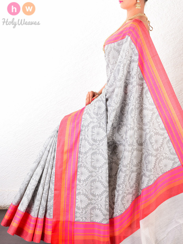 Grey Cotton Silk Tanchoi Woven Saree