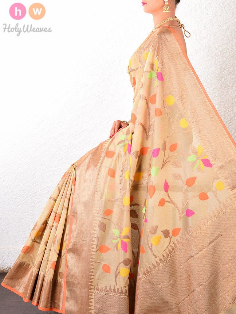 Beige Colored Leaves Cotton Silk Cutwork Brocade Woven Saree - HolyWeaves