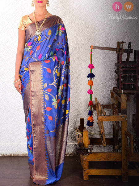 Blue Colored Leaves Cotton Silk Cutwork Brocade Woven Saree