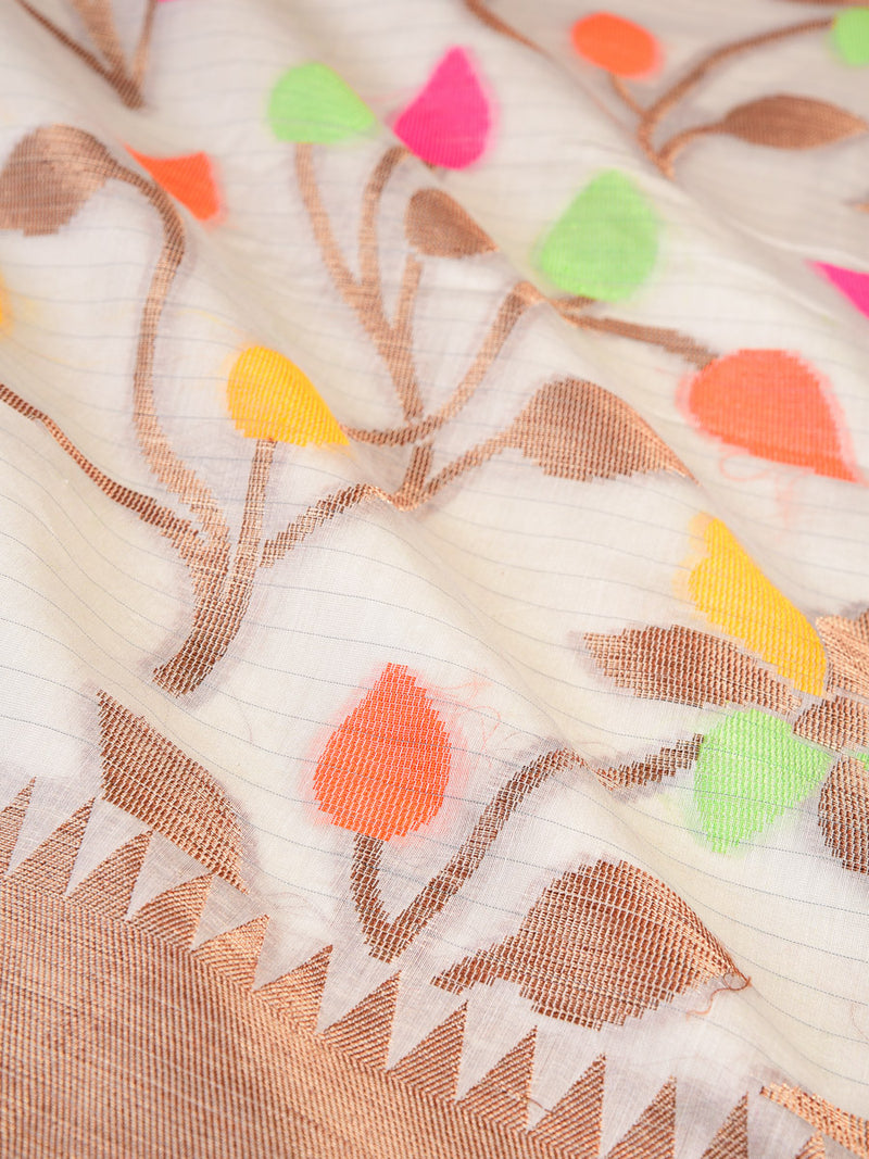 Cream Colored Leaves Cotton Silk Cutwork Brocade Woven Saree- HolyWeaves