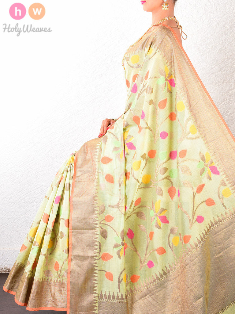 Green Colored Leaves Cotton Silk Cutwork Brocade Woven Saree