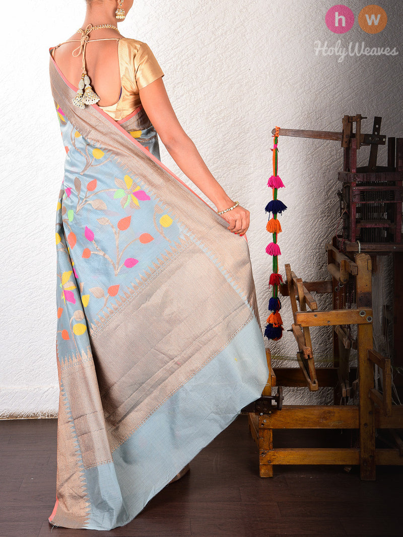 Grey Colored Leaves Cotton Silk Cutwork Brocade Woven Saree - HolyWeaves
