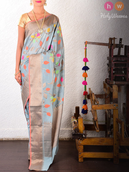 Grey Colored Leaves Cotton Silk Cutwork Brocade Woven Saree