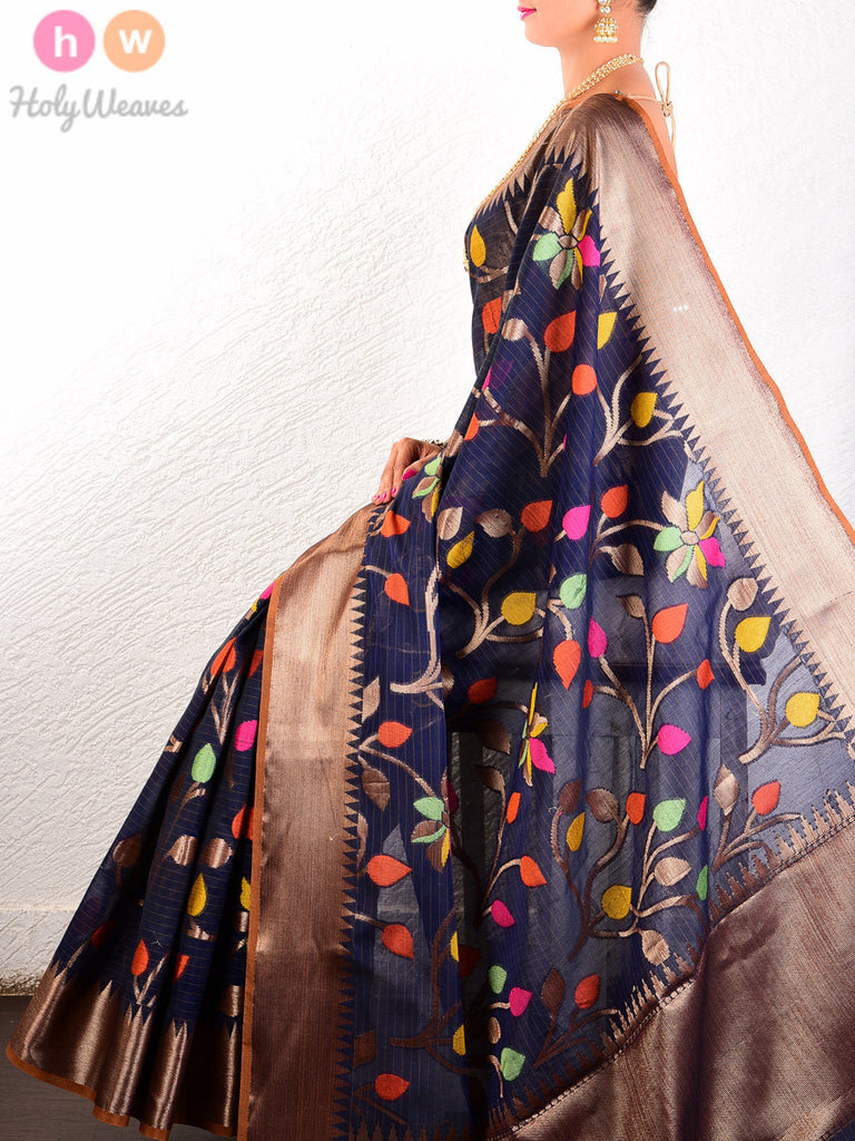Navy Blue Colored Leaves Cotton Silk Cutwork Brocade Woven Saree - HolyWeaves