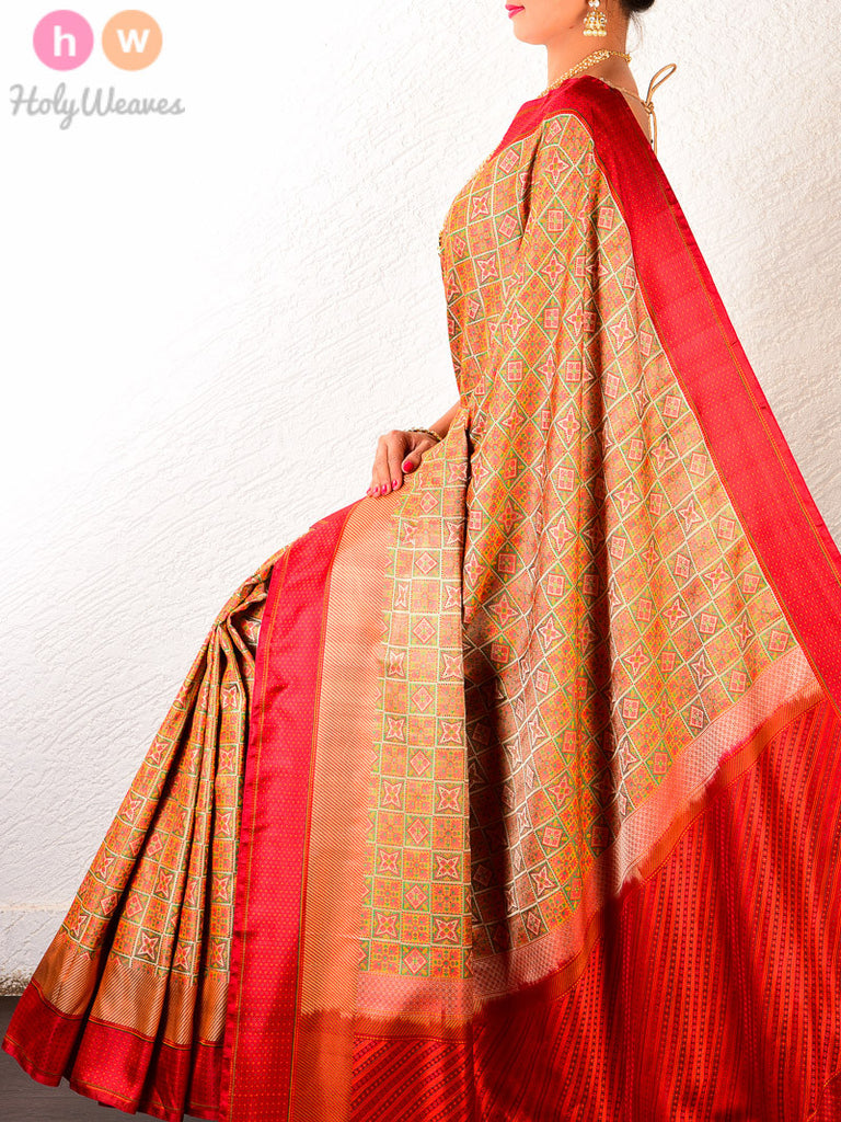 Beige Silk Chequered Jamawar Handwoven Saree with Red Border and Pallu