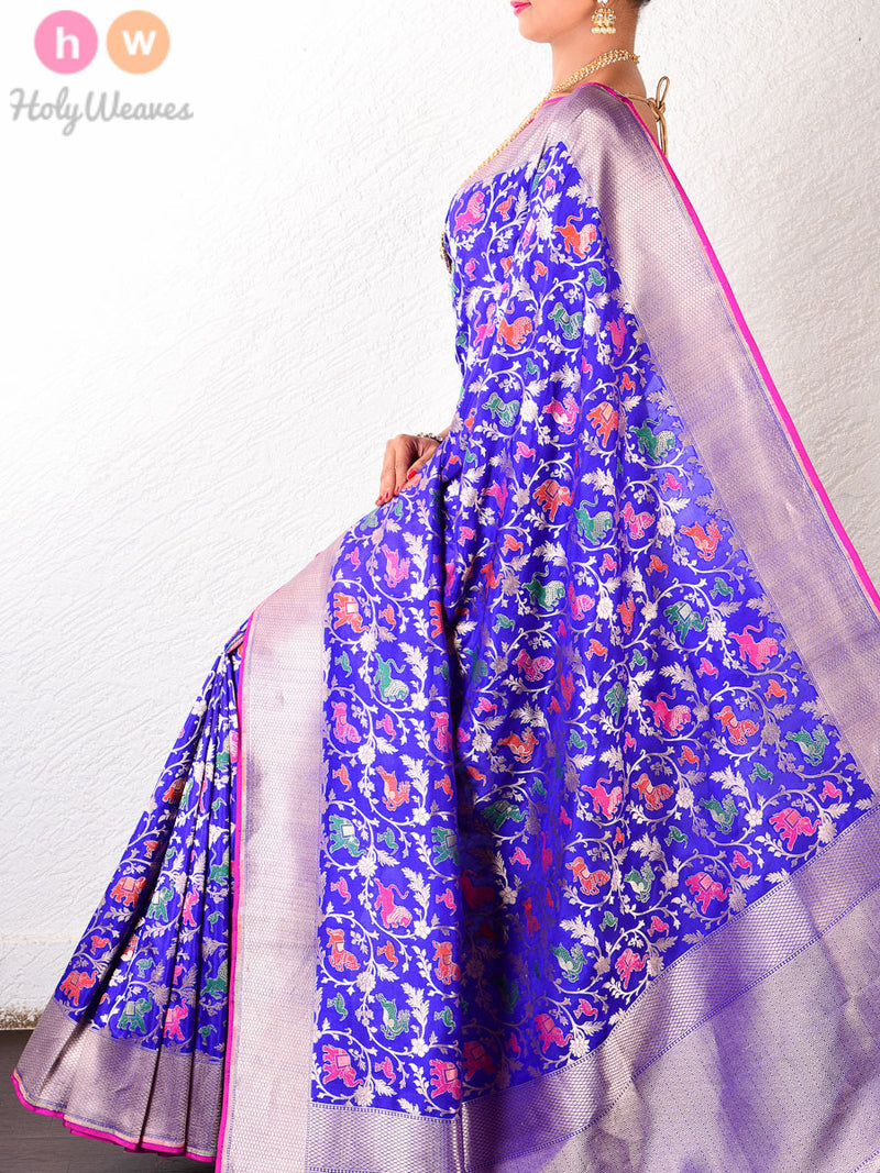 Royal Blue Silk Shikargah (शिकारगाह)- Lions, Elephants, Reindeers & Swans- Brocade Handwoven Saree - HolyWeaves