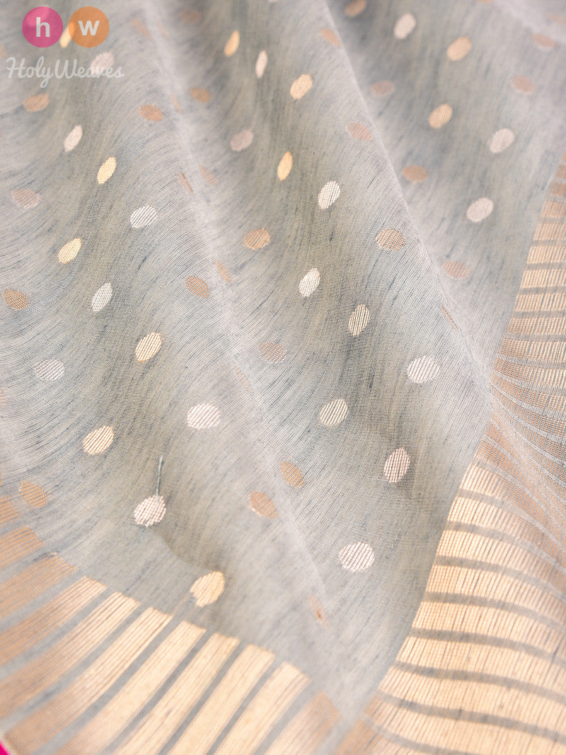 Grey Linen Silk Cutwork Gold & Silver Polka Brocade Handwoven Saree - HolyWeaves