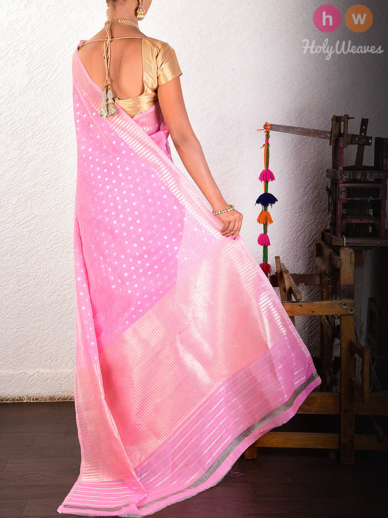 Pink Linen Silk Cutwork Gold & Silver Polka Brocade Handwoven Saree - HolyWeaves