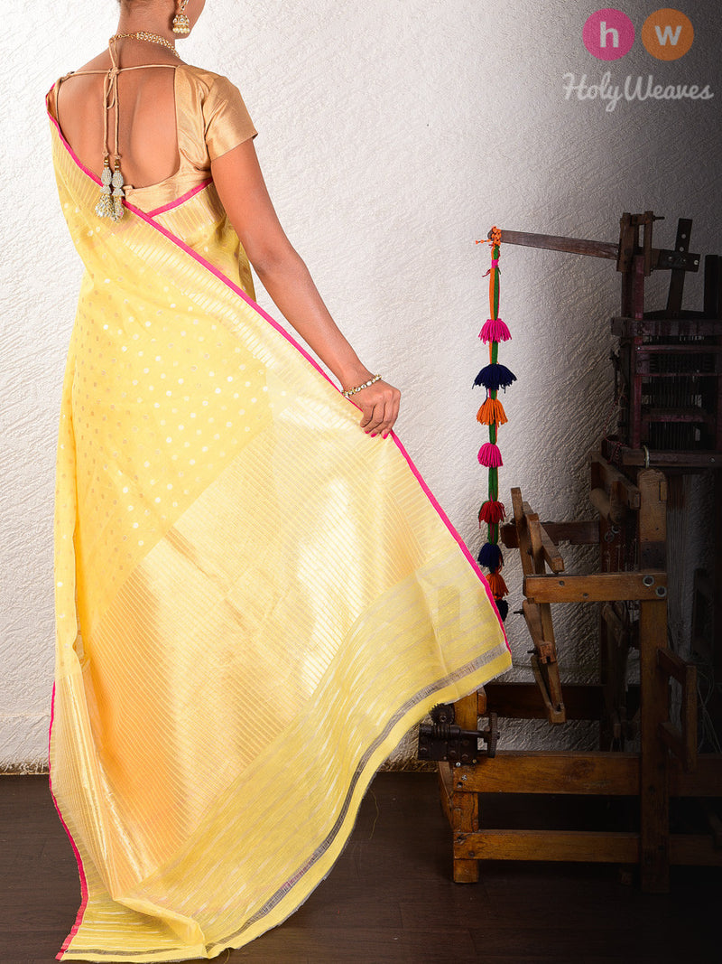 Yellow Linen Silk Cutwork Gold & Silver Polka Brocade Handwoven Saree - HolyWeaves