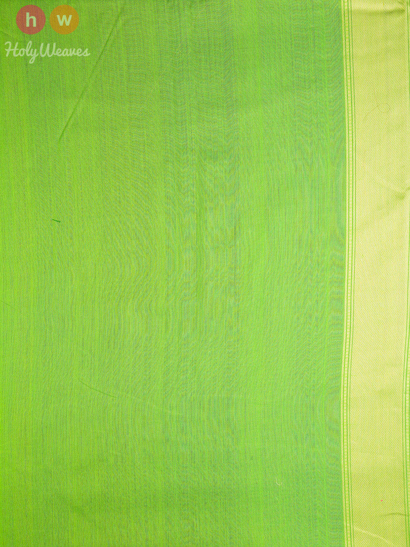 Green Cotton Silk Cutwork Kamal Brocade Kamal Buti Handwoven Saree- HolyWeaves