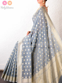 Grey Cotton Silk Cutwork Brocade Kamal Buti Handwoven Saree - HolyWeaves